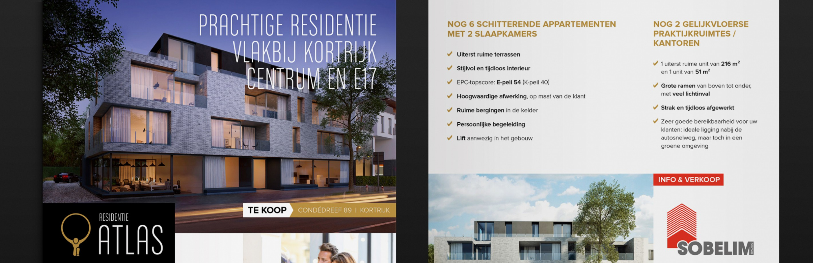Voor en achterkant folder 'Residentie Atlas'